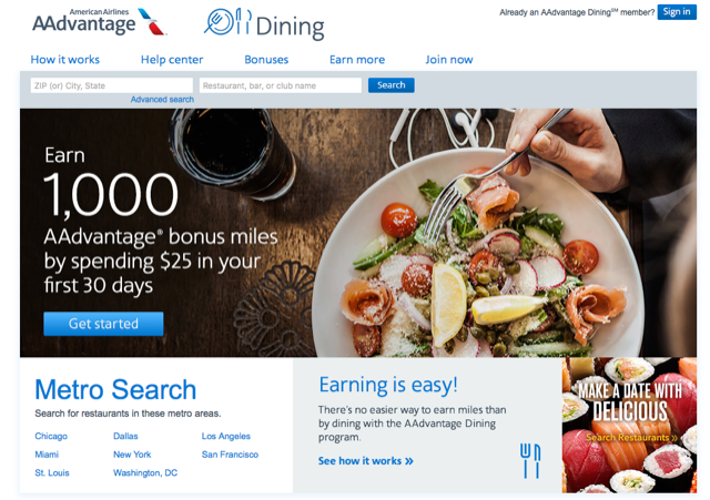 AAdvantage Dining Program to earn frequent flier miles