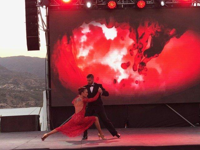 Tango dancers performing in Mendoza province