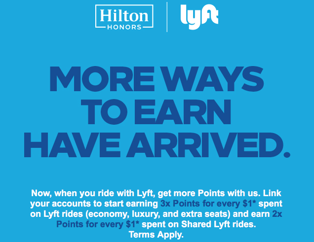 Earn 3x Hilton Honors points when you link your Hilton and Lyft  accounts. This is a very easy way to earn points and miles