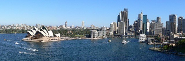 Landscape photo of Sydney Harbor, Australia, with the Sydney Opera House and skyline