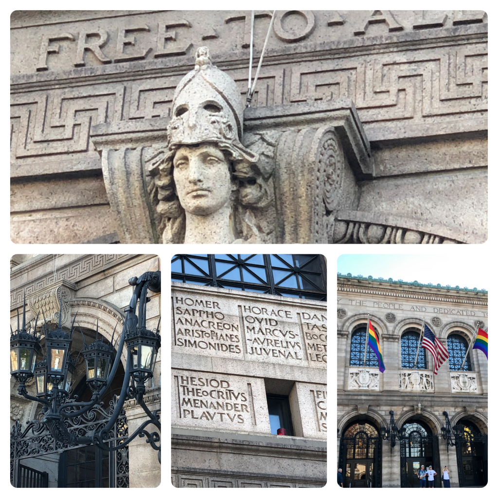 Images from the front facade of the Boston Public Library, including the bust of Minerva, the Gothic lamps, names of great thinkers, and the three doors.
