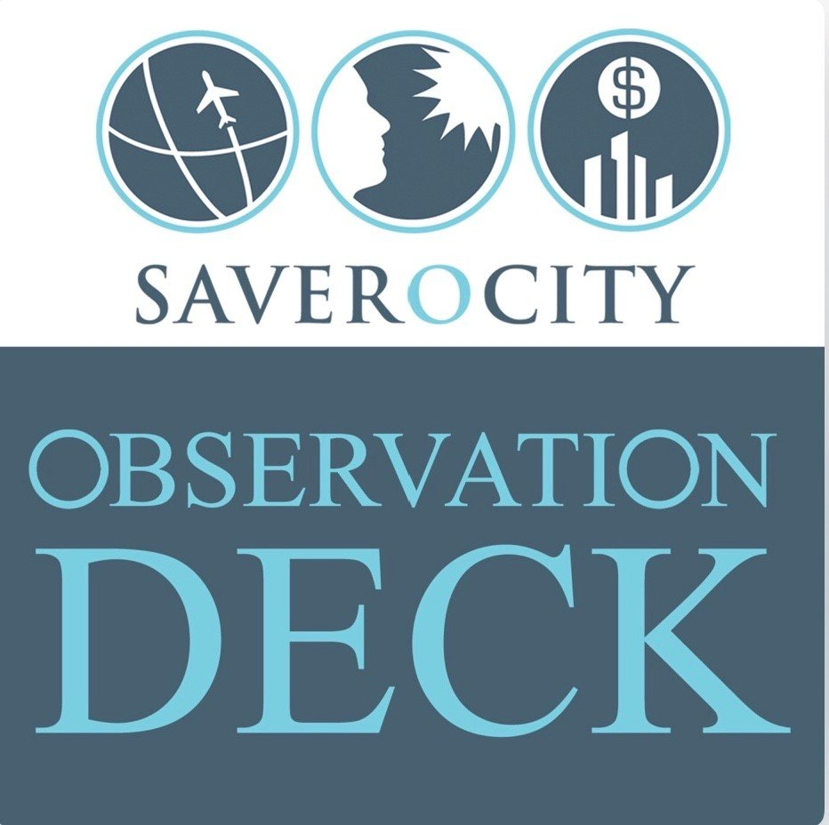 Logo of Saverocity Observation Deck podcast, on which Kathy Forest was a guest panelists to discuss travel and miles & points blogging at TravelCon