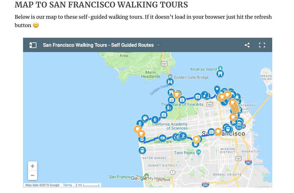 Screen shot of the map feature on Coleman Concierge's walking tour itineraries