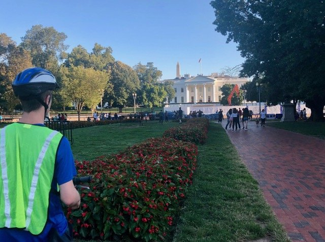 The start of the bike tour will bring you to the north side of the White House, viewed here from Lafayette Park