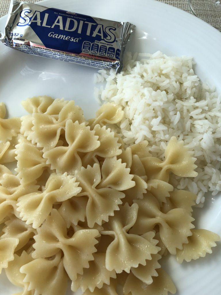Saltine crackers, white rice, and plain pasta