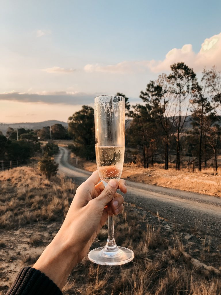 hand holding a glass of champagne in the countryside along a dirt road